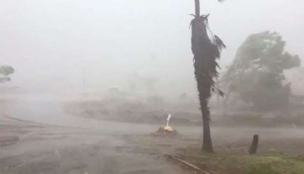 Fallen branches and trees sway as tropical cyclone Damien hits Dampier, Western Australia
