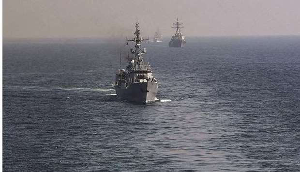 Naval ships from various countries are seen during Pakistan's multinational naval exercise.