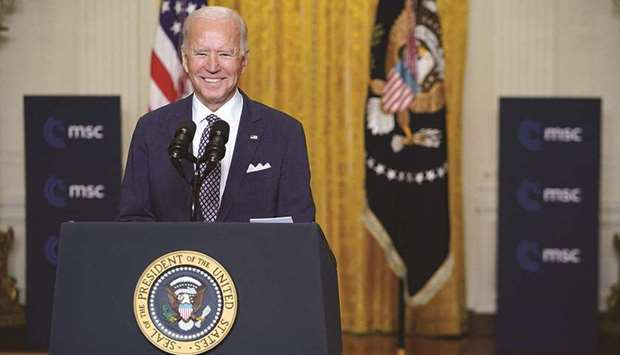 US President Joe Biden speaks virtually to the Munich Security Conference in Germany, from the East