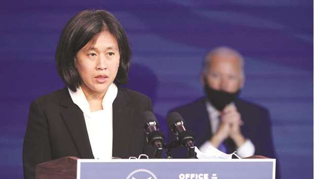 President Joe Biden's pick for US Trade Representative, Katherine Tai speaks at an event in Washingt