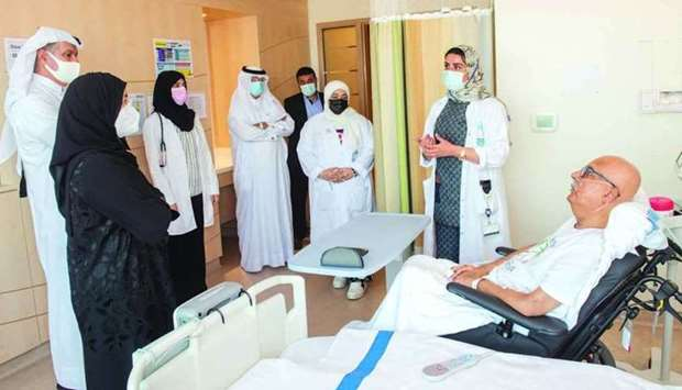 HE the Minister of Public Health Dr Hanan Mohamed al-Kuwari visiting the Post-Covid Inpatient Unit e