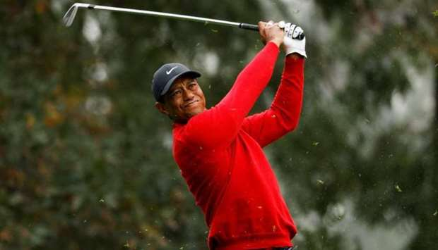 Tiger Woods on the 4th hole during the final round, November 15, 2020. REUTERS