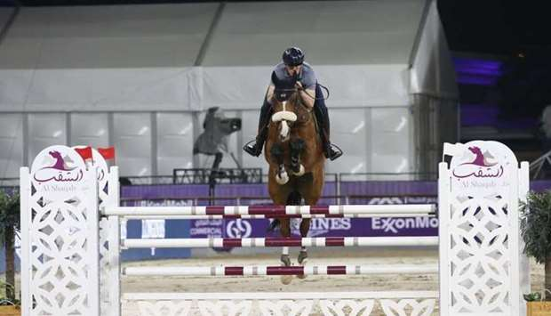 World No. 4 Peder Fredrickon of Sweden trains on the eve of the Commercial Bank CHI Al Shaqab Presen