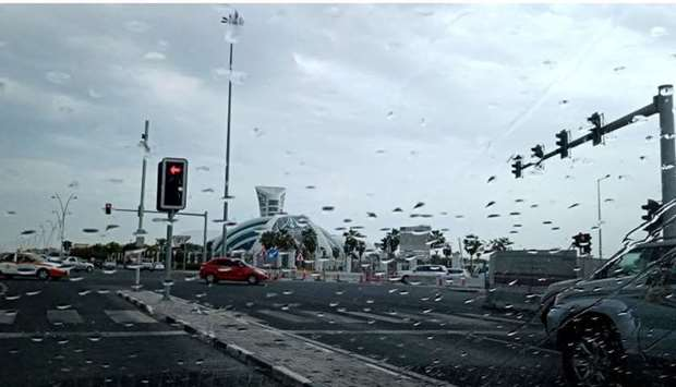 Rainy and cloudy conditions in Doha Wednesday.
