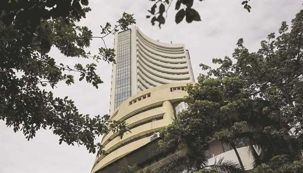 The Bombay Stock Exchange building in Mumbai. The BSE Sensex closed down 3.8% to 49,099.99 points ye