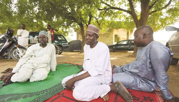 Some of the parents of the girls abducted from the Jangebe school are seen in Zamfara, Nigeria yeste