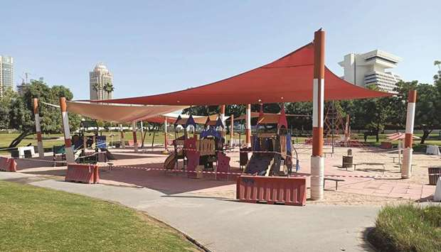 A cordoned-off children's play area at a park in Doha yesterday. PICTURE: Jayaram