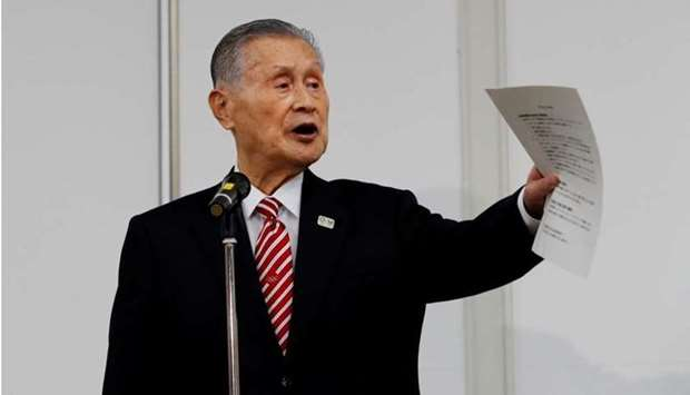 Tokyo 2020 president Yoshiro Mori speaks at a news conference in Tokyo on February 4