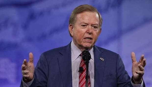 In this file photo taken on February 24, 2017 Lou Dobbs of Fox Business Network speaks during the Co