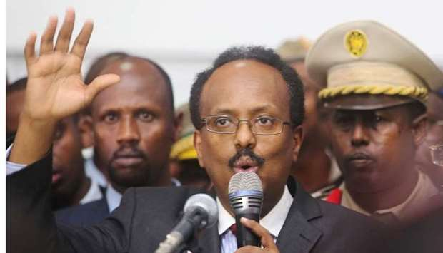 Somalia's newly-elected President Mohamed Abdullahi Farmajo addresses lawmakers after winning the vo