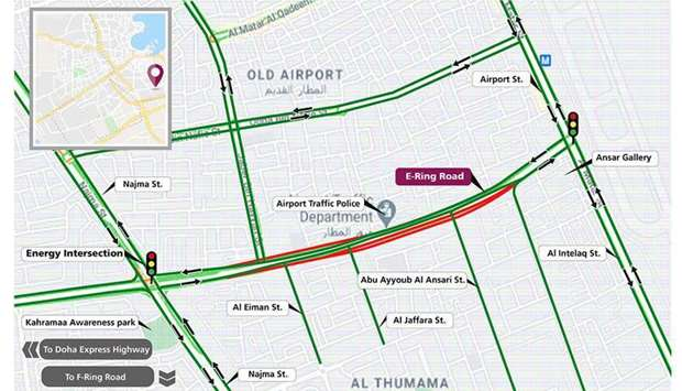 Diversion on part of E-Ring Road from Energy Intersection towards Airport Street