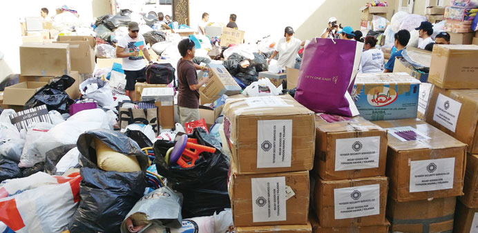 The Philippine embassy continues receiving tonnes of relief goods. PICTURE: Joey Aguilar