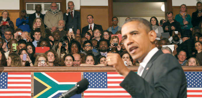President Barack Obama speaks at the University of Cape Town yesterday.