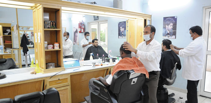A hair cutting saloon for Karwa drivers.