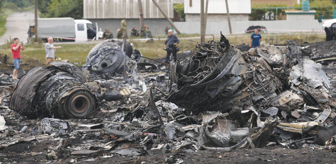 The crash site of the Malaysian flight MH17 near the Ukraine-Russia border.