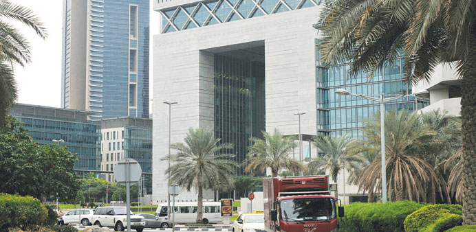 A truck and taxi drive past the Dubai International Financial Centre (file). The UAE is the only one