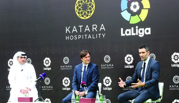 LaLiga Global ambassador Fernando Sanz explaining a point about the tie up with Katara Hospitality