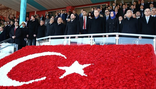 Turkish President Recep Tayyip Erdogan with ministers