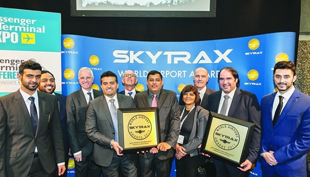 Officials celebrate the occasion of HIA being ranked Sixth Best Airport in the World by the 2017 Sky