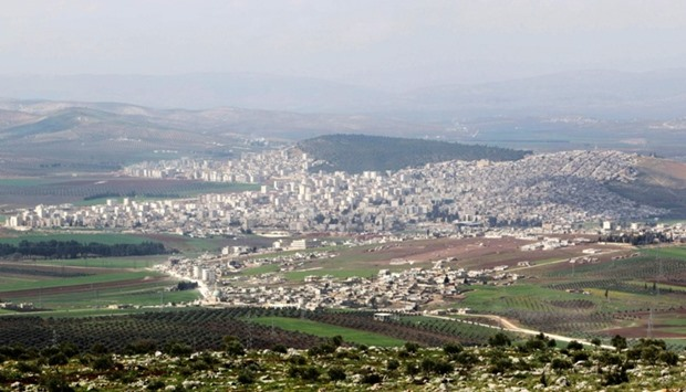 A general view shows the Kurdish-controlled city of Afrin, northern Syria