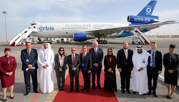 Dignitaries and VIP guests welcomed the Orbis Flying Eye Hospital to Doha with an official reception
