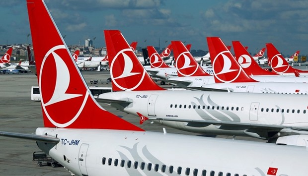 Turkish Airlines aircraft parked at the Ataturk International airport in Istanbul.
