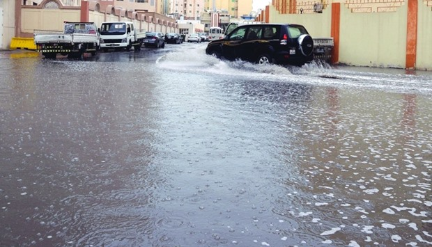 At some places, full width of roads were covered in rain water.