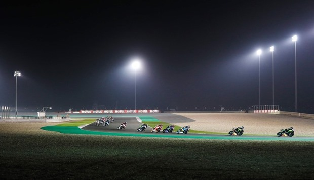 Racers compete at the Losail International Circuit