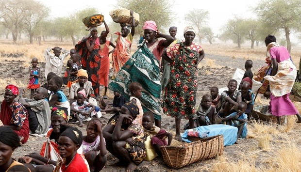 Women and children wait to be treated at a Medecins Sans Frontieres (MSF) support clinic in Thaker,