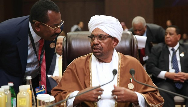Sudanese President Omar al-Bashir attends talks of the Arab League summit