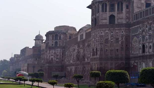The historic Mughal-era Lahore Fort in the Pakistani city of Lahore.