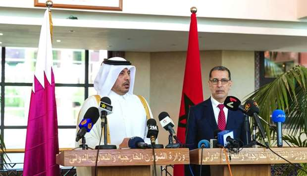Qatari and Moroccan prime ministers speaking after the conclusion of the 7th meeting of the Qatari-M
