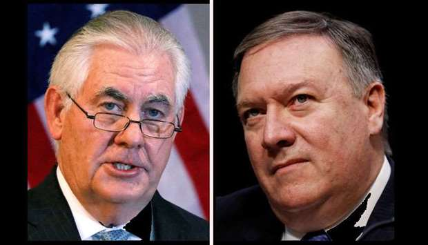 A combination photo shows US Secretary of State Rex tillerson(L) and Central Intelligence Agency (CI