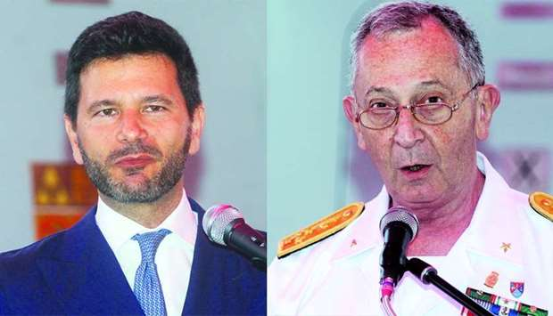 Italian ambassador Pasquale Salzano and Admiral Valter Girardelli, chief of the Italian Navy. PICTUR