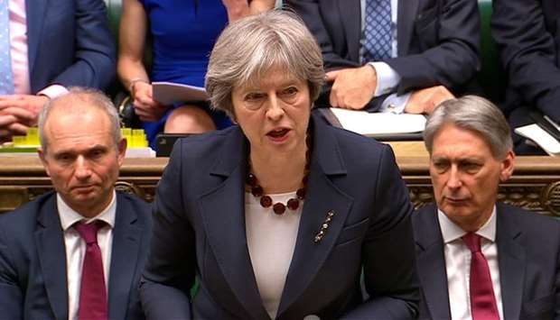 Britain's Prime Minister Theresa May making a statement on Britain's response to a March 4 nerve att