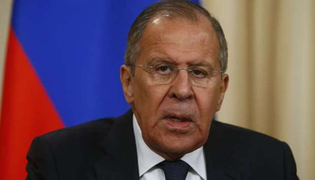 Russia's Foreign Minister Sergei Lavrov speaks during a press conference with his Turkish counterpar