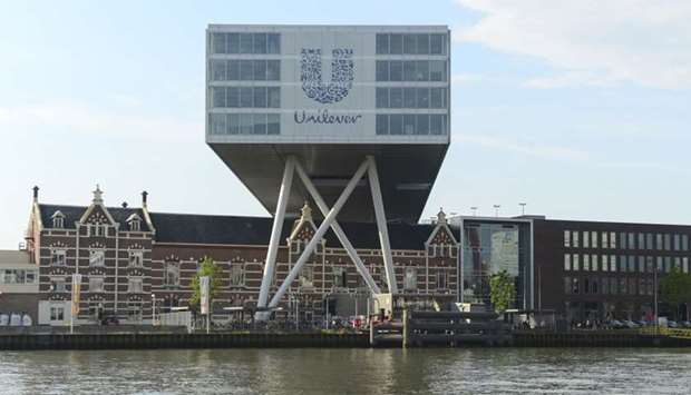logo of Unilever at the headquarters in Rotterdam