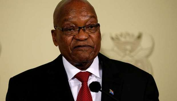 South Africa's President Jacob Zuma announces his resignation at the Union Buildings in Pretoria, So