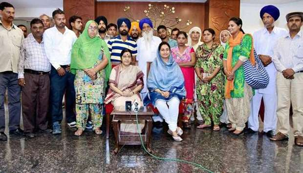 Sushma Swaraj with kin of 39 Indians captured by IS (file photo)