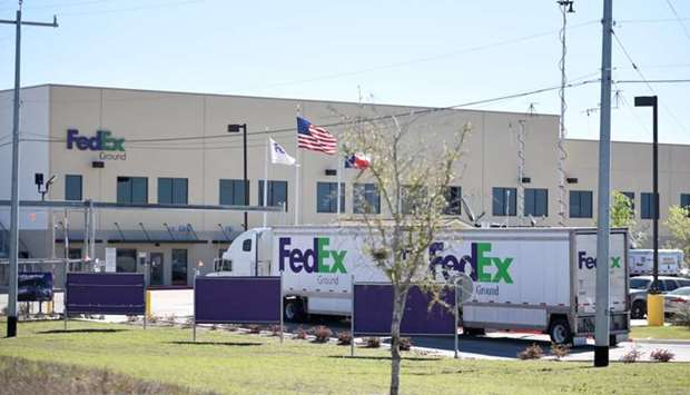 A FedEx truck is seen outside FedEx facility following the blast, in Schertz, Texas, US