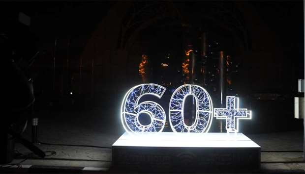 Earth Hour being observed at the Kahramaa Awareness Park in Doha yesterday. PICTURE: Jayan Orma