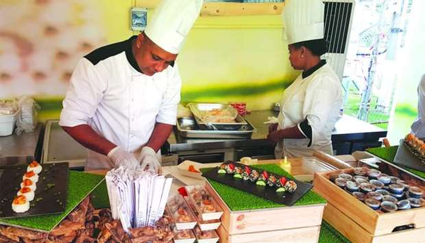 Chefs preparing some Japanese food at QIFF. PICTURE: Joey Aguilar