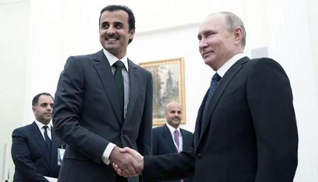 His Highness the Emir Sheikh Tamim bin Hamad al-Thani with Russian President Vladimir Putin