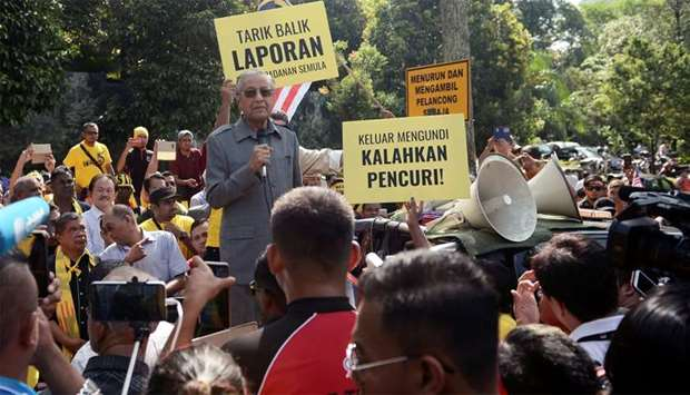 Malaysia's opposition coalition prime ministerial candidate Mahathir Mohamad speaks against a contro