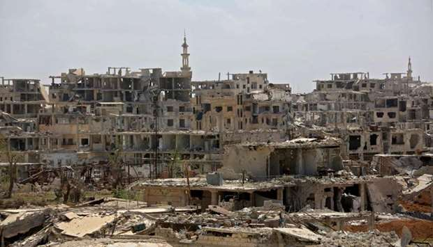 Destroyed buildings in Harasta, in Eastern Ghouta on the outskirts of the capital Damascus