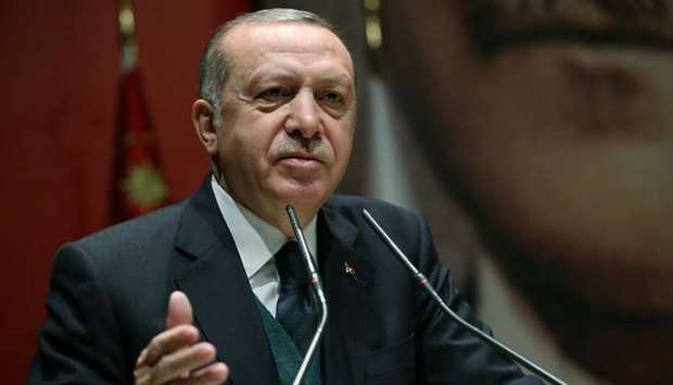 Erdogan speaks during a meeting in Ankara