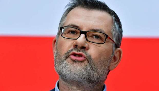 Dietmar Nietan, treasurer of Germany's Social Democrats (SPD) party, announces the results of the SP