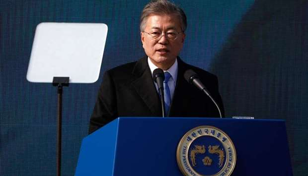South Korea's President Moon Jae-in delivers a speech during a ceremony celebrating the 99th anniver