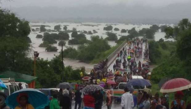Flooded Kamuzu Bridge on the Shire River in Chikwawa in the Southern Region of Malawi.