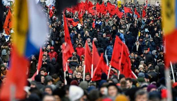 People attend an opposition rally in central Moscow to demand internet freedom in Russia.